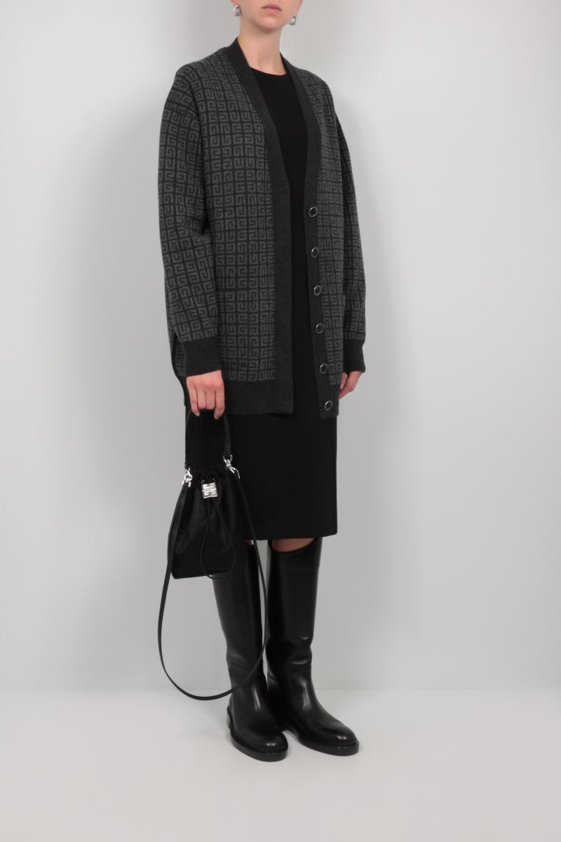 GIVENCHY: oversize 4G cashmere cardigan Color Grey_2