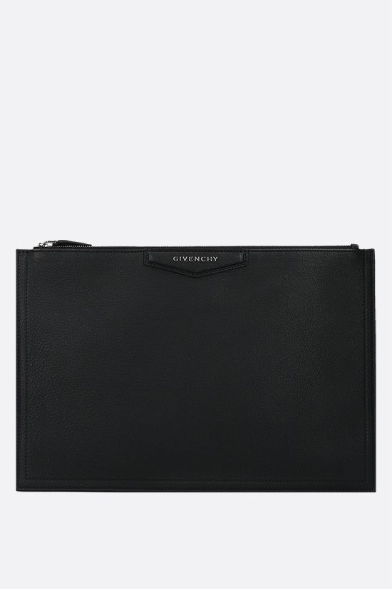 GIVENCHY: Antigona large grainy leather pouch Color Black_1
