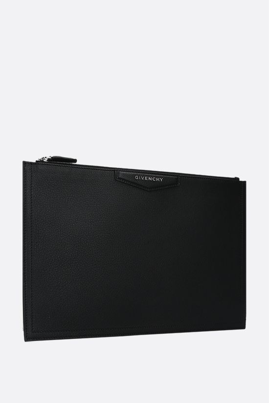 GIVENCHY: Antigona large grainy leather pouch Color Black_2