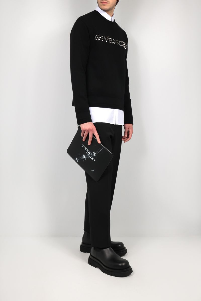 GIVENCHY: clutch Givenchy Trompe l'œil in pelle liscia Colore Nero_2