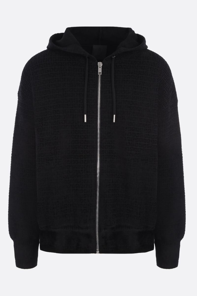 GIVENCHY: 4G jacquard knit hoodie Color Black_1