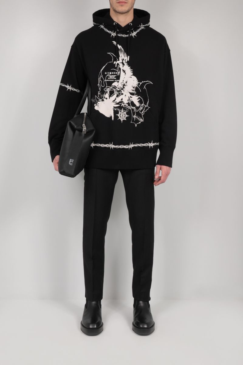 GIVENCHY: gothic print oversize cotton hoodie Color Black_2