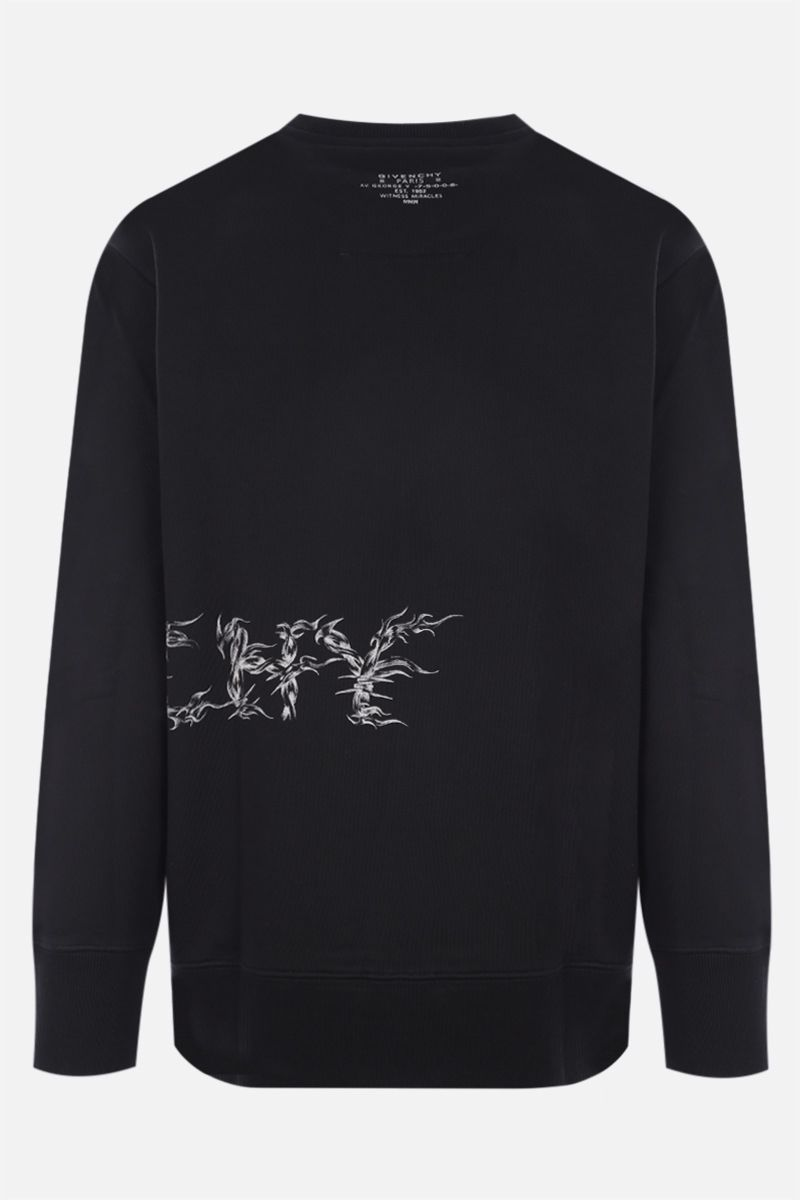 GIVENCHY: felpa Givenchy Barbed Wire in cotone Colore Nero_2
