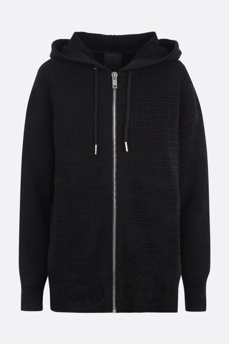 GIVENCHY: oversized 4G knit hoodie Color Black_1