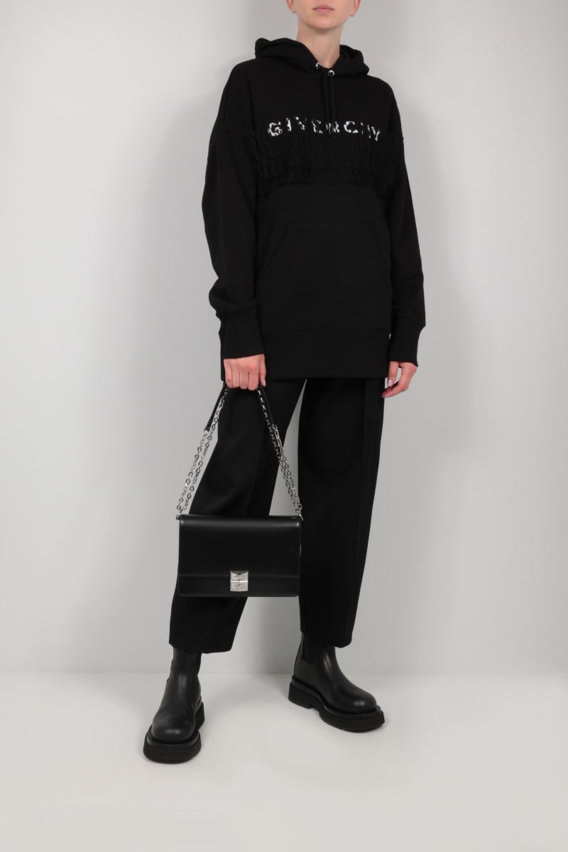 GIVENCHY: Givenchy oversize cotton and lace hoodie Color Black_2