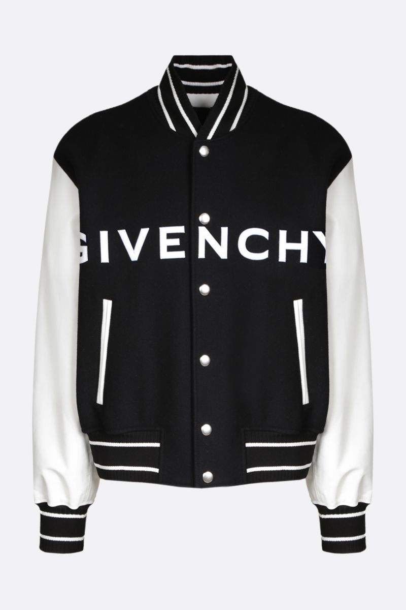 GIVENCHY: technical wool and leather bomber jacket Color Black_1