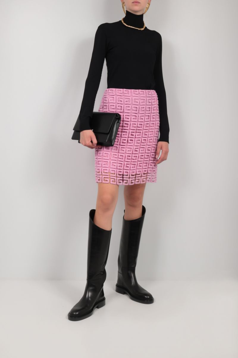 GIVENCHY: 4G guipure short skirt Color Pink_2