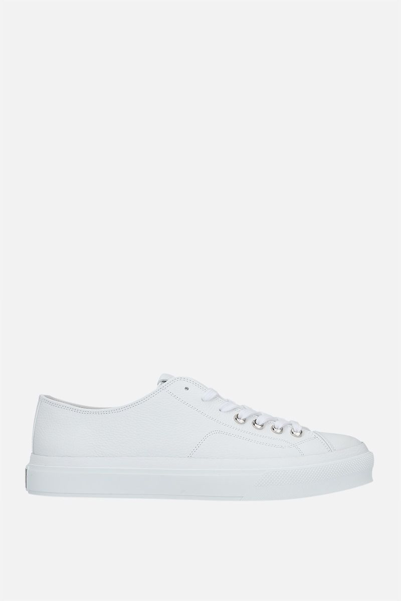 GIVENCHY: City grainy leather sneakers Color White_1