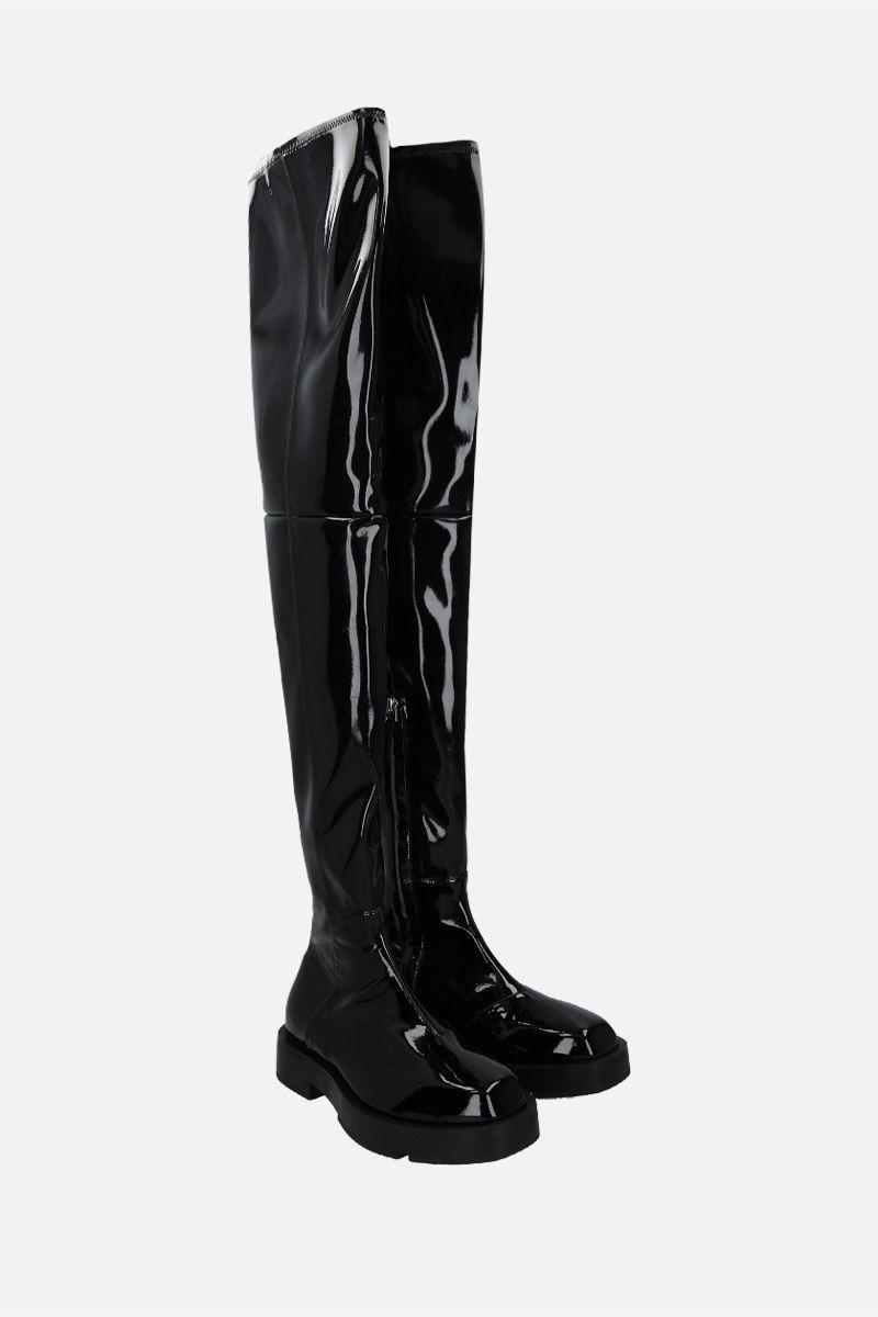 GIVENCHY: synthetic stretch patent leather over-the-knee boots Color Black_2