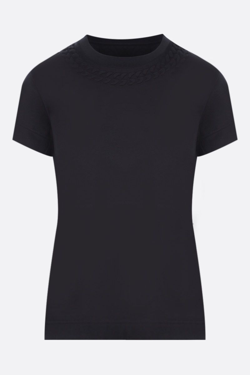 GIVENCHY: embossed chain collar cotton t-shirt Color Black_1