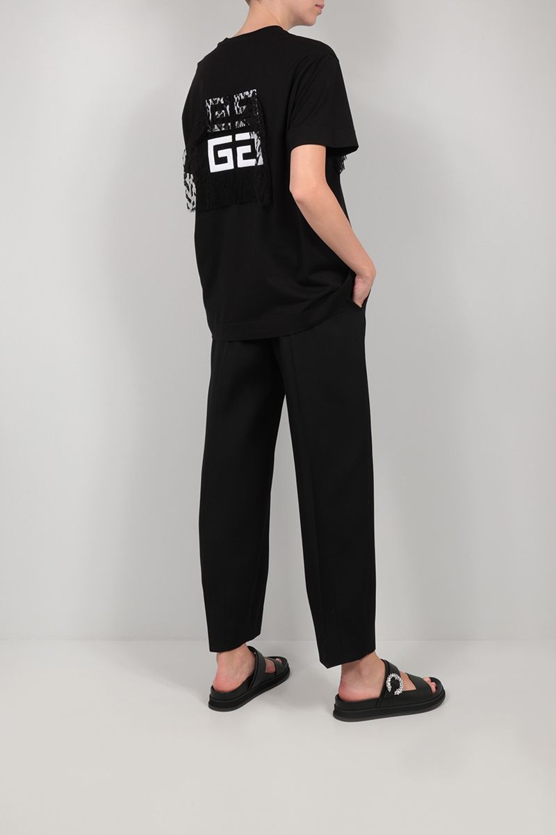 GIVENCHY: Givenchy cotton and lace t-shirt Color Black_2