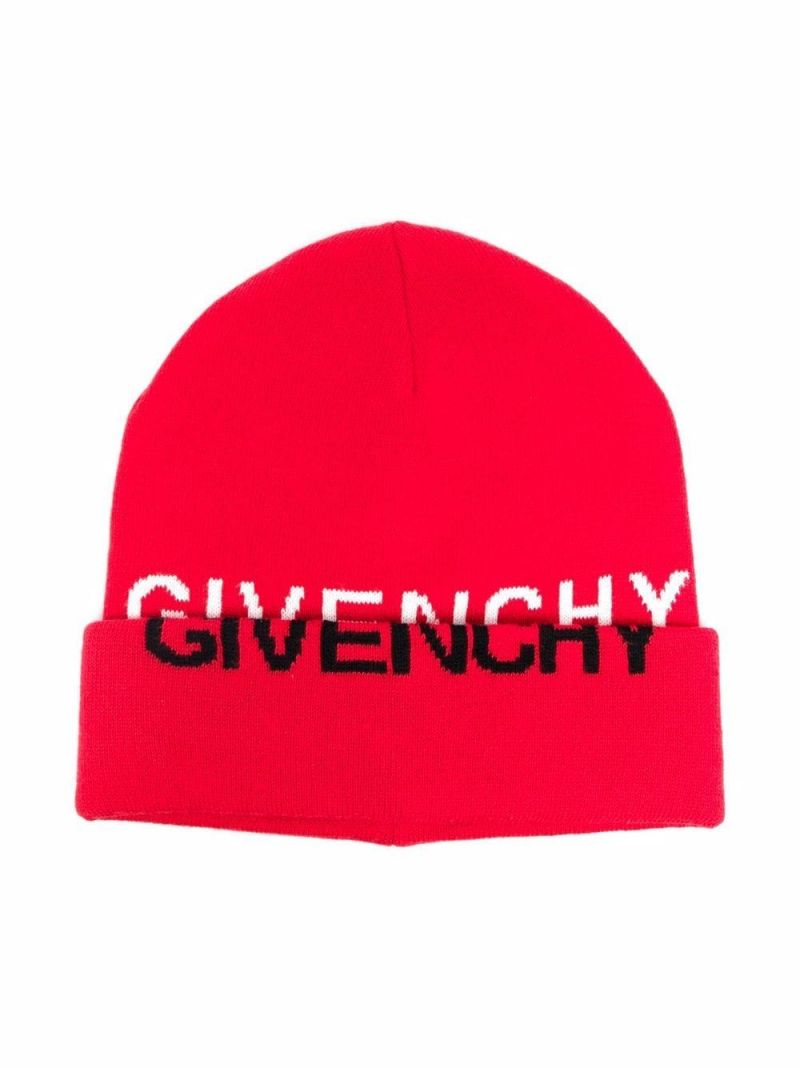 GIVENCHY KIDS: logo intarsia cashmere cotton blend beanie Color Red_1