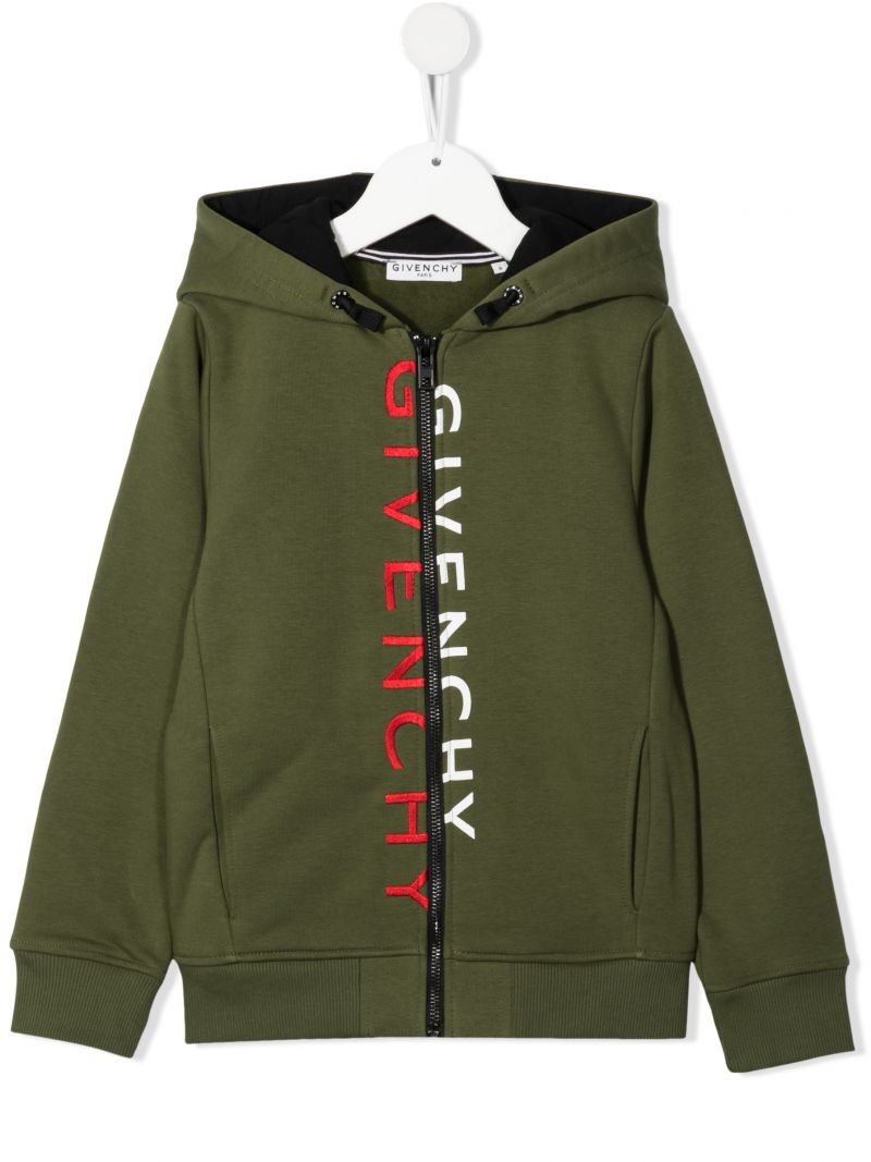 GIVENCHY KIDS: cotton blend full-zip hoodie Color Brown_1