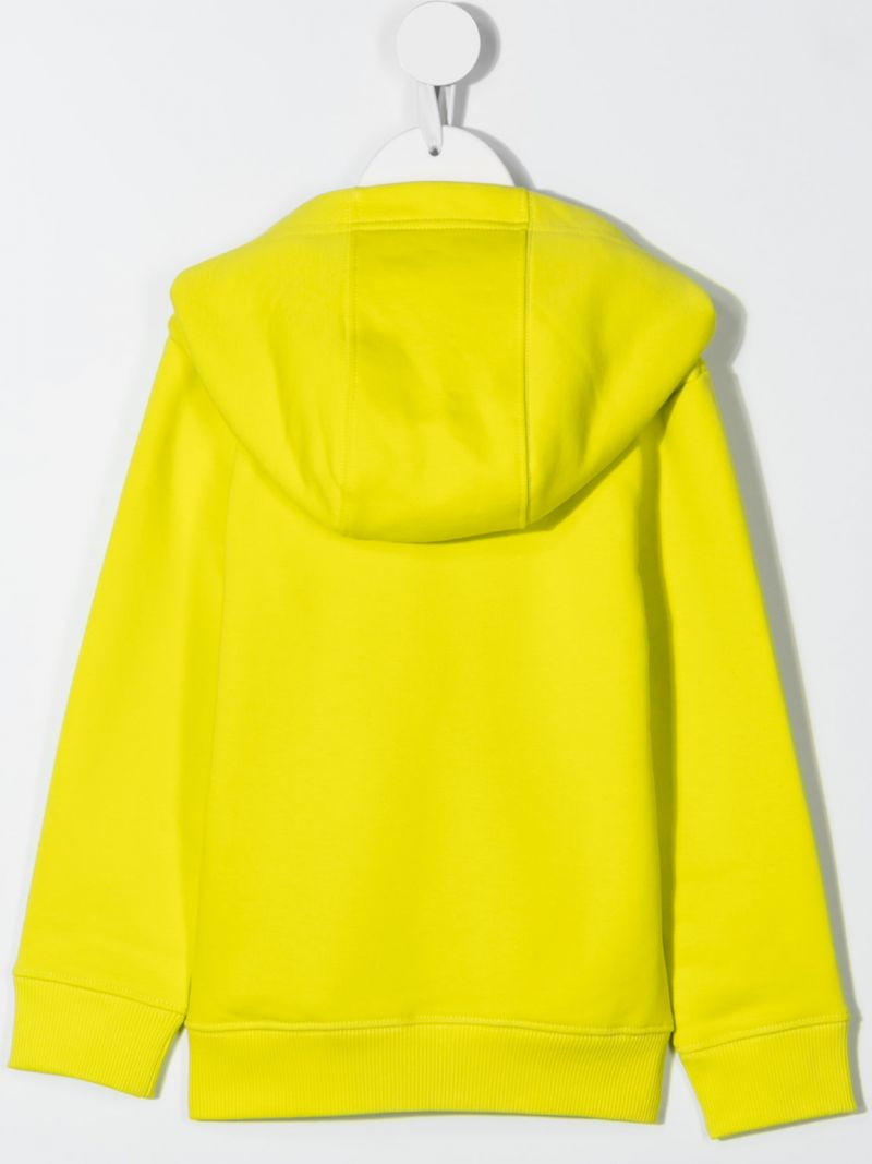 GIVENCHY KIDS: logo print cotton blend hoodie Color Green_2