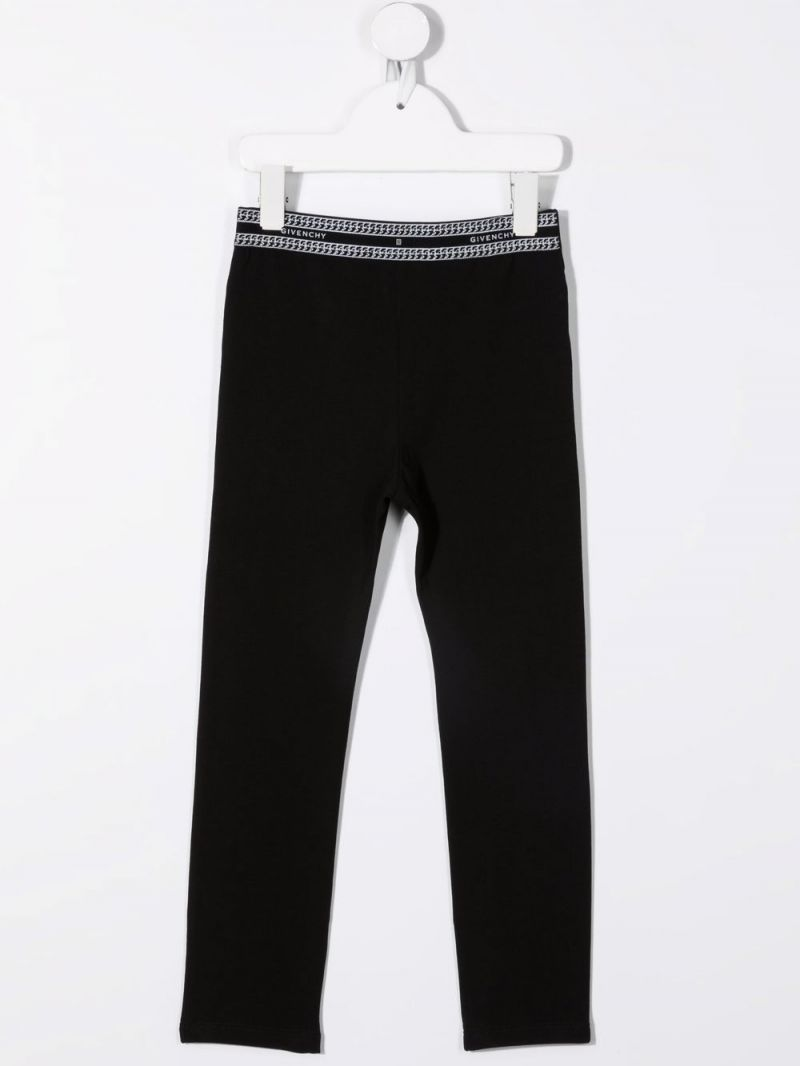 GIVENCHY KIDS: legging in cotone stretch stampa Givenchy Paris Colore Nero_1