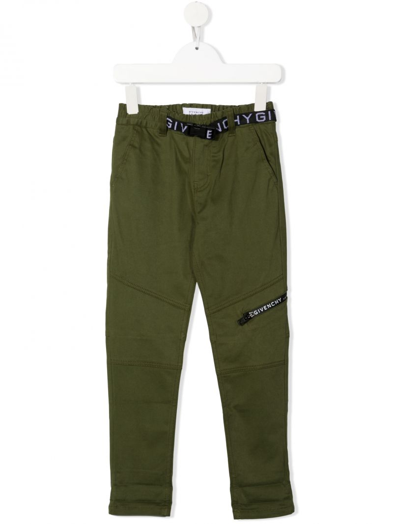 GIVENCHY KIDS: logo-detailed stretch cotton pants Color Brown_1