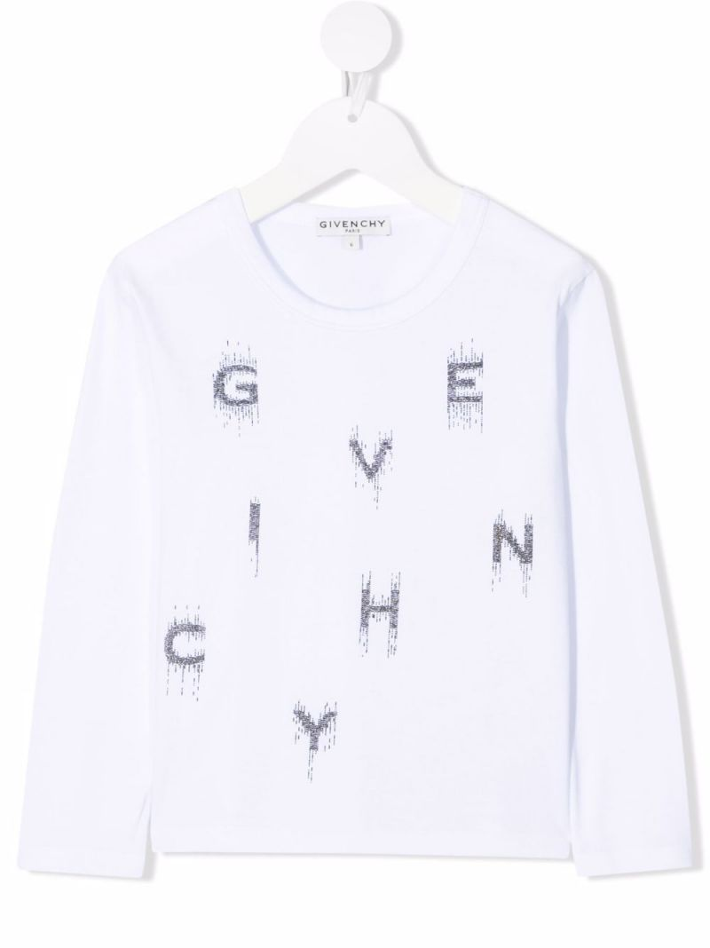 GIVENCHY KIDS: logo-detailed long-sleeved cotton t-shirt Color White_1