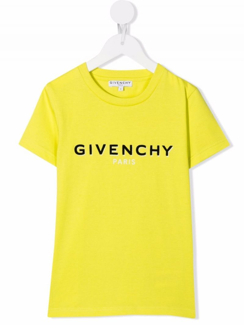GIVENCHY KIDS: t-shirt in cotone stampa logo Colore Verde_1