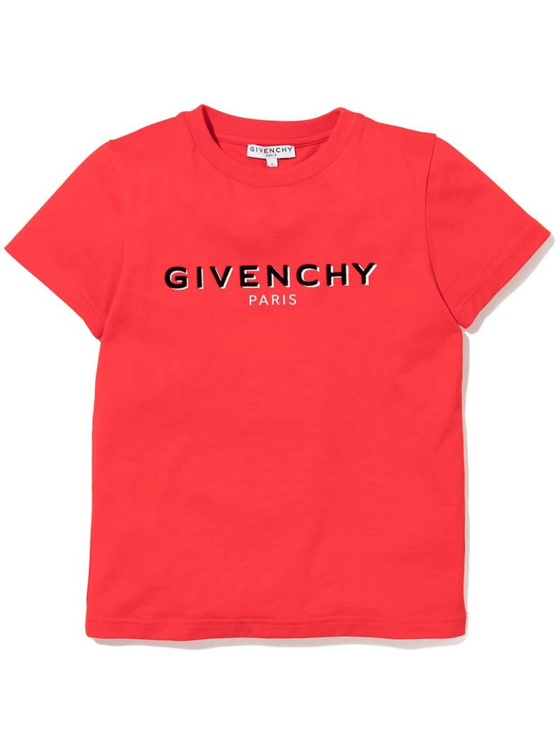 GIVENCHY KIDS: logo print cotton t-shirt Color Red_1