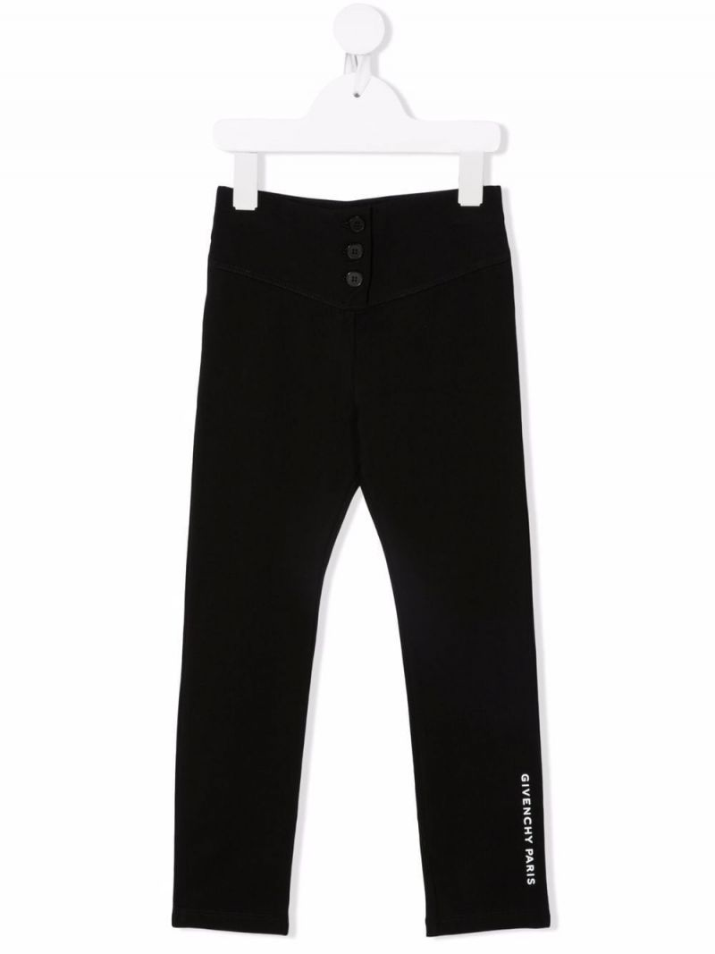 GIVENCHY KIDS: legging in cotone stretch stampa Givenchy Paris Colore Nero_2