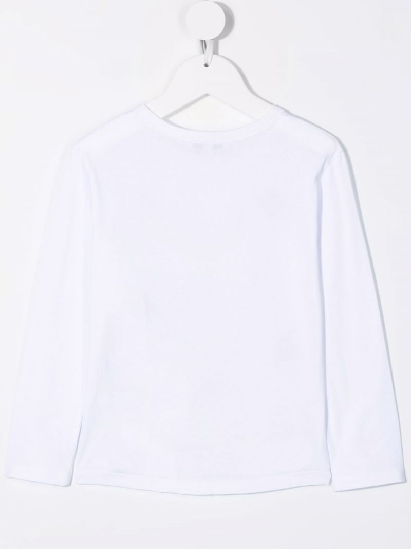 GIVENCHY KIDS: logo-detailed long-sleeved cotton t-shirt Color White_2