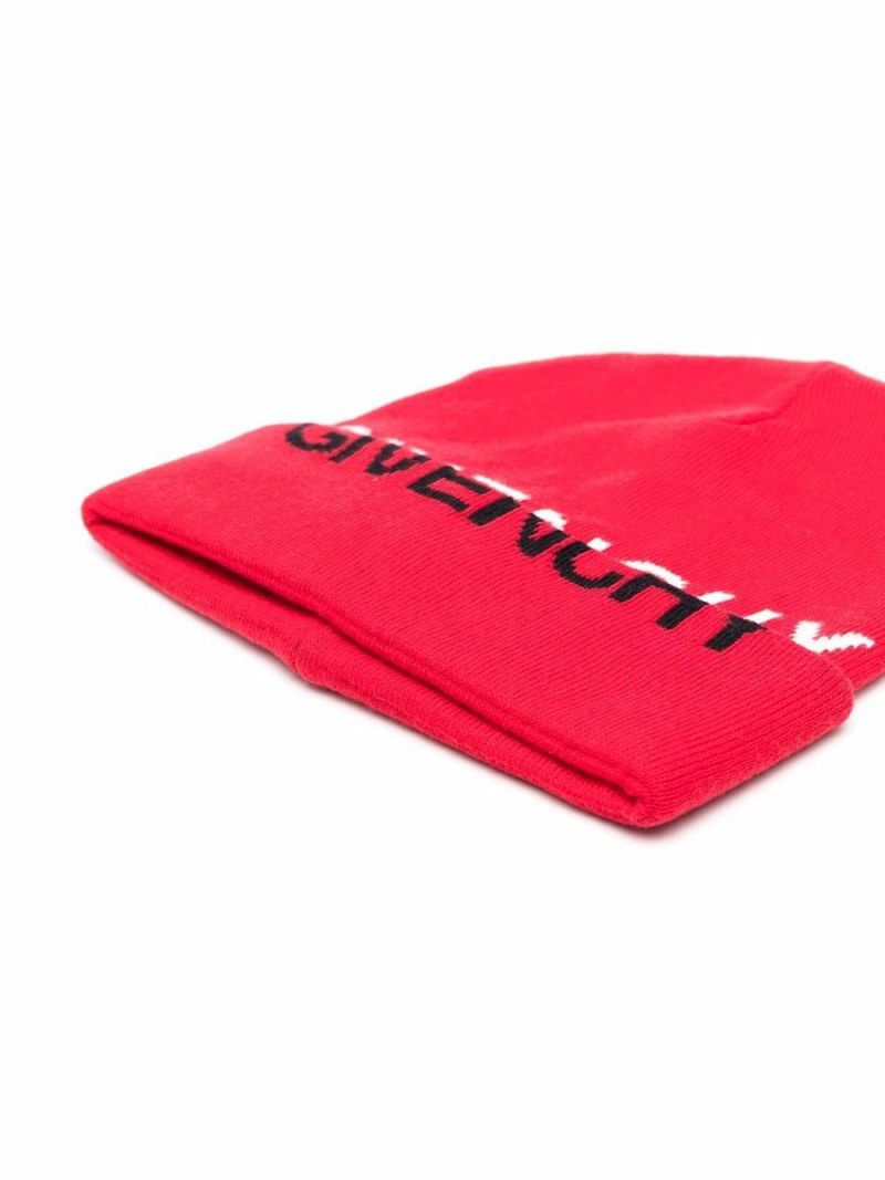 GIVENCHY KIDS: logo intarsia cashmere cotton blend beanie Color Red_2