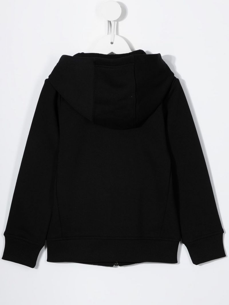 GIVENCHY KIDS: cotton blend full-zip hoodie Color Black_2