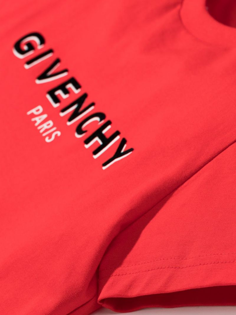 GIVENCHY KIDS: logo print cotton t-shirt Color Red_2