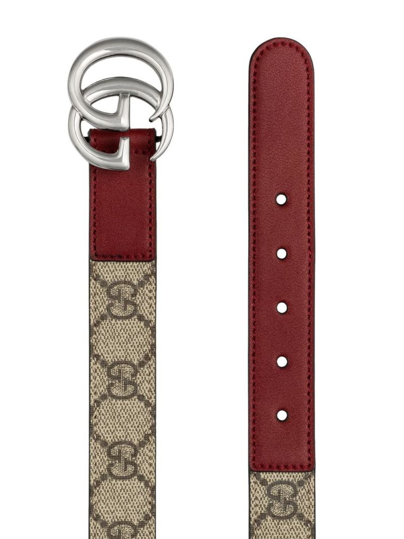 GUCCI CHILDREN: Double G belt in smooth leather and GG Supreme canvas Color Neutral_2