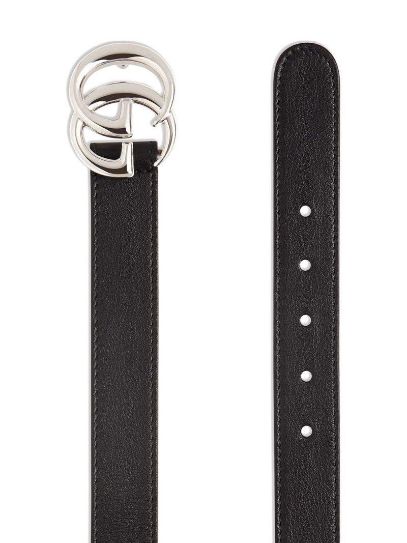 GUCCI CHILDREN: Double G buckle-detailed smooth leather belt Color Black_2