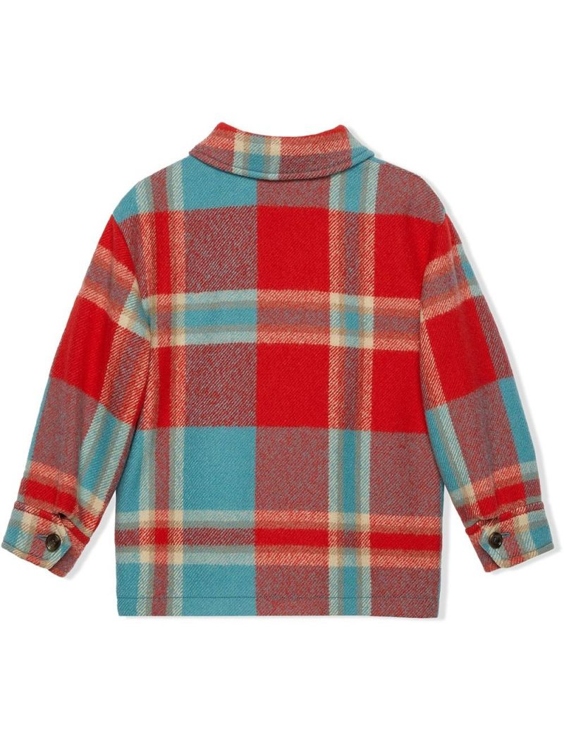 GUCCI CHILDREN: check wool overshirt Color Red_2
