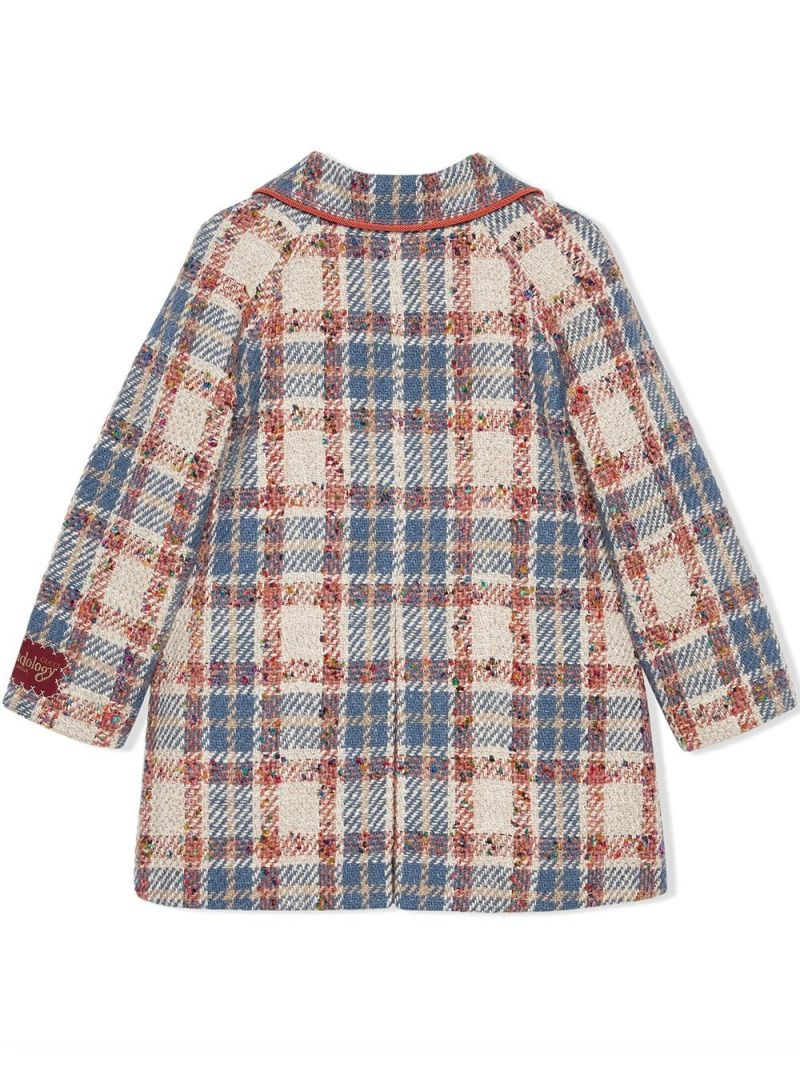 GUCCI CHILDREN: single-breasted check wool blend coat Color Blue_2