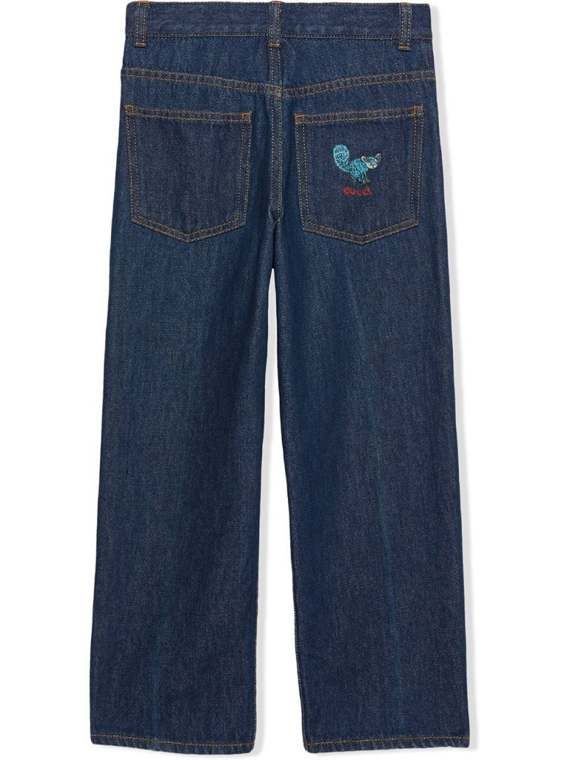 GUCCI CHILDREN: Freya Hartas embroidered jeans Color Blue_2