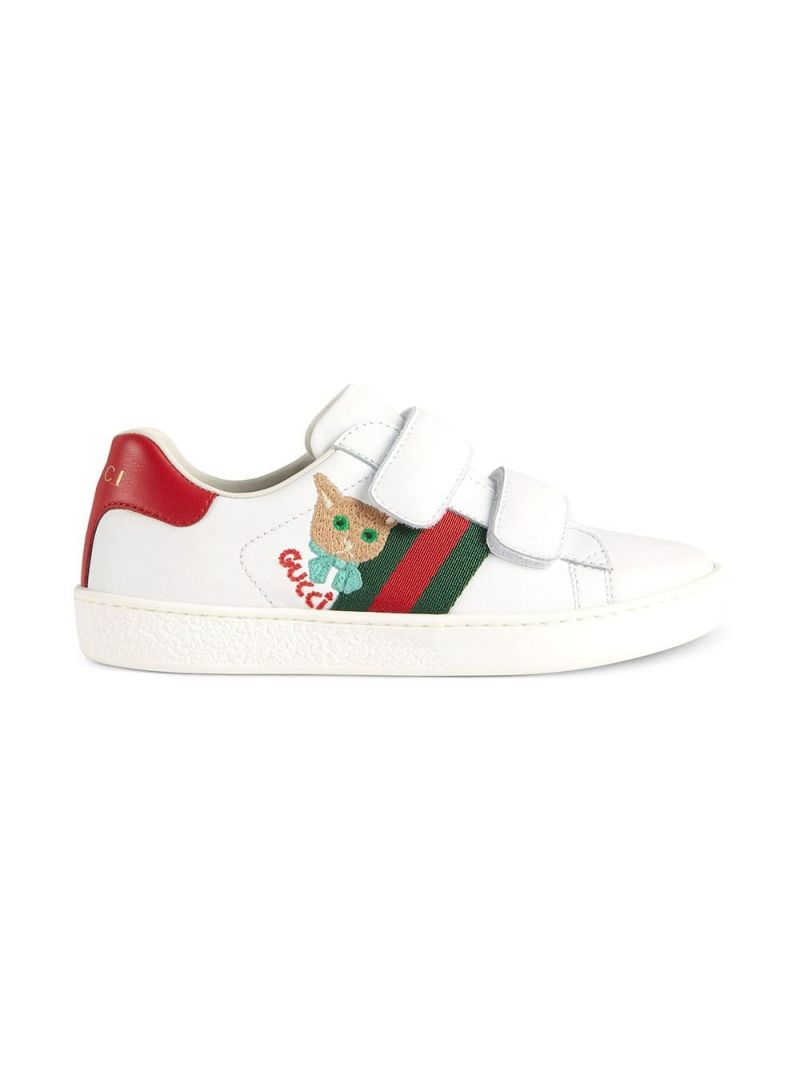 GUCCI CHILDREN: Ace leather sneakers with cat embroidery Color Green_2
