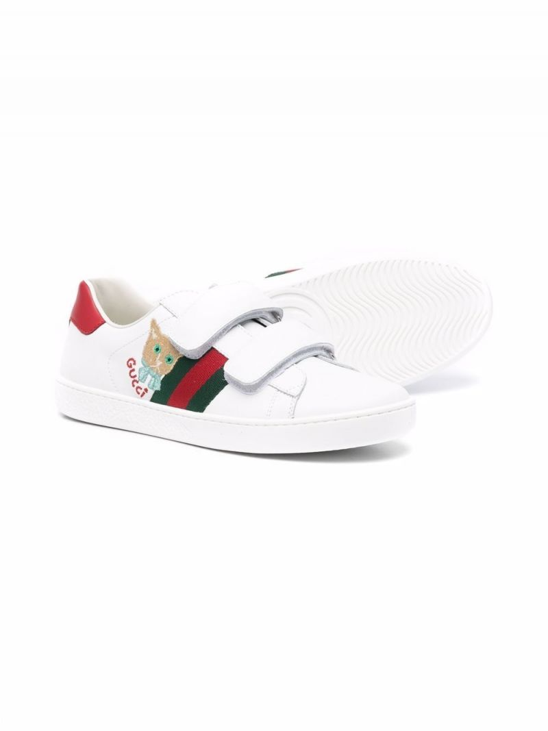 GUCCI CHILDREN: Ace smooth leather sneakers Color Green_2