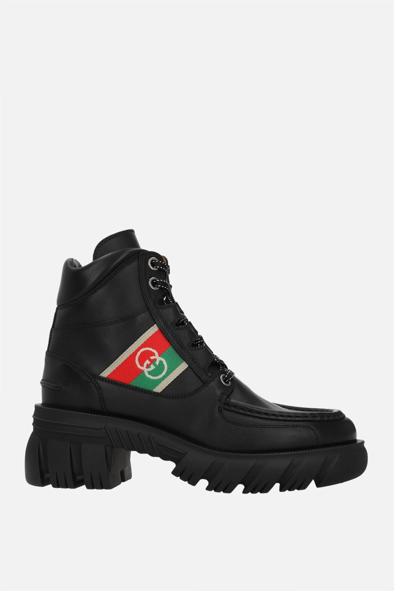 GUCCI: Interlocking G-detailed smooth leather combat boots Color Black_1
