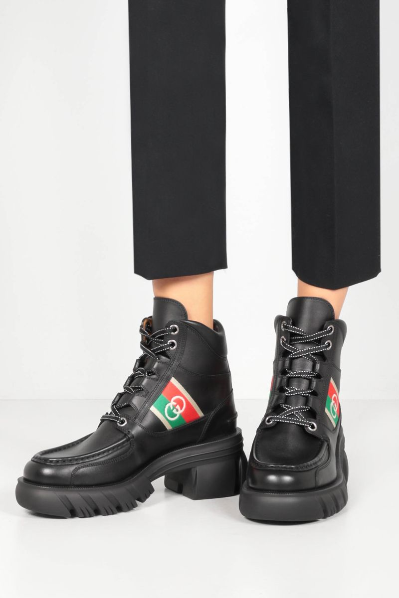 GUCCI: Interlocking G-detailed smooth leather combat boots Color Black_2