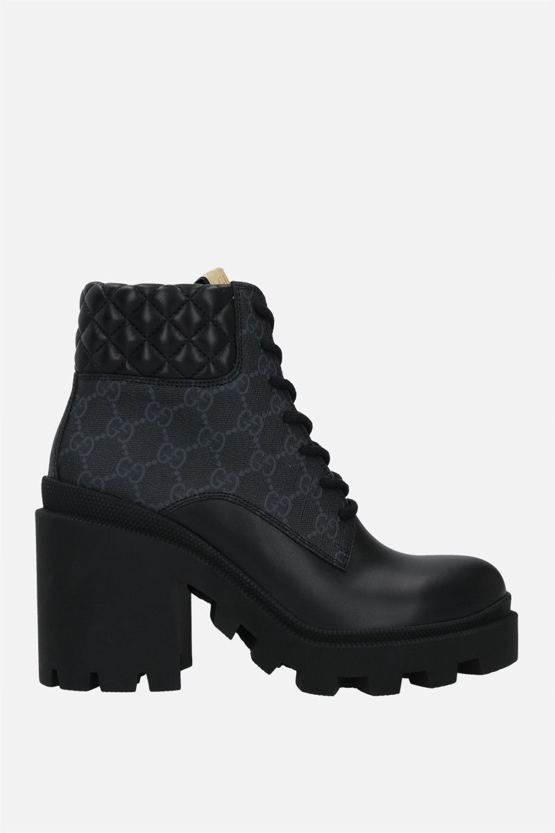 GUCCI: Apollo ankle boots in GG Supreme canvas and smooth leather Color Black_1