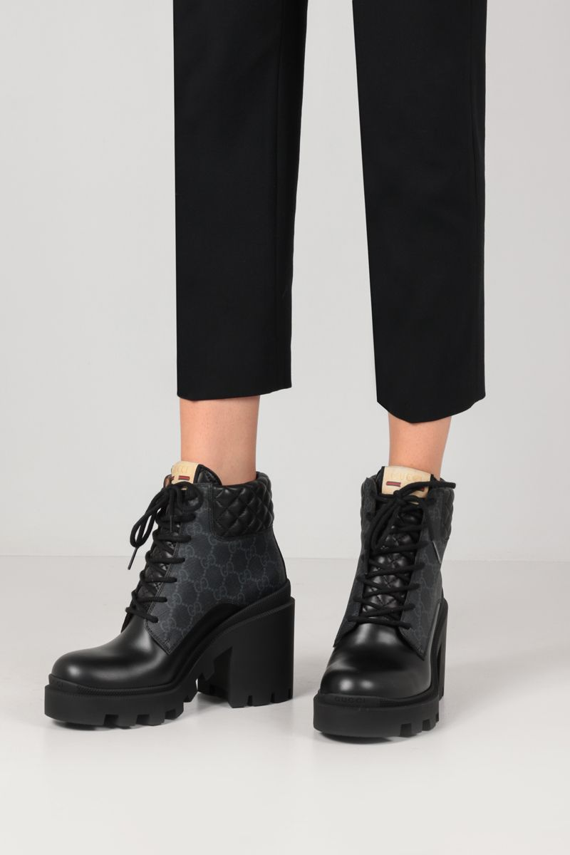 GUCCI: Apollo ankle boots in GG Supreme canvas and smooth leather Color Black_2