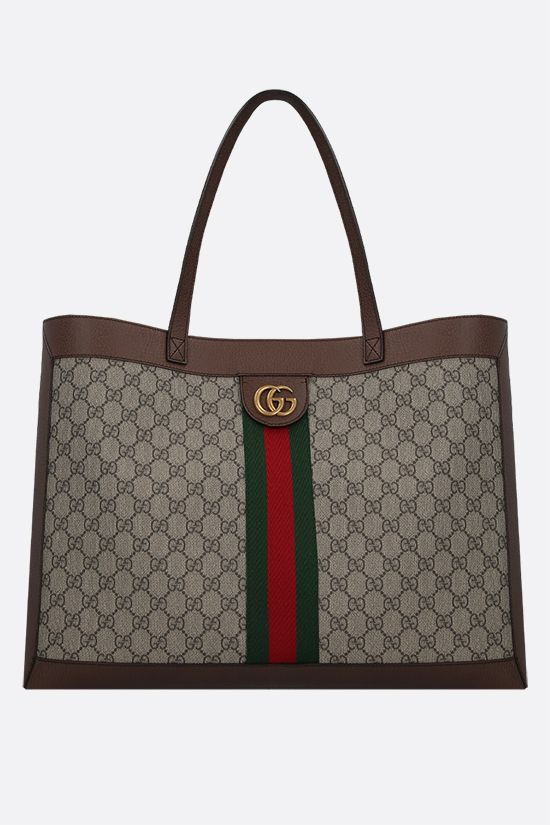 GUCCI: Ophidia shopping bag in GG Supreme canvas Color Brown_1