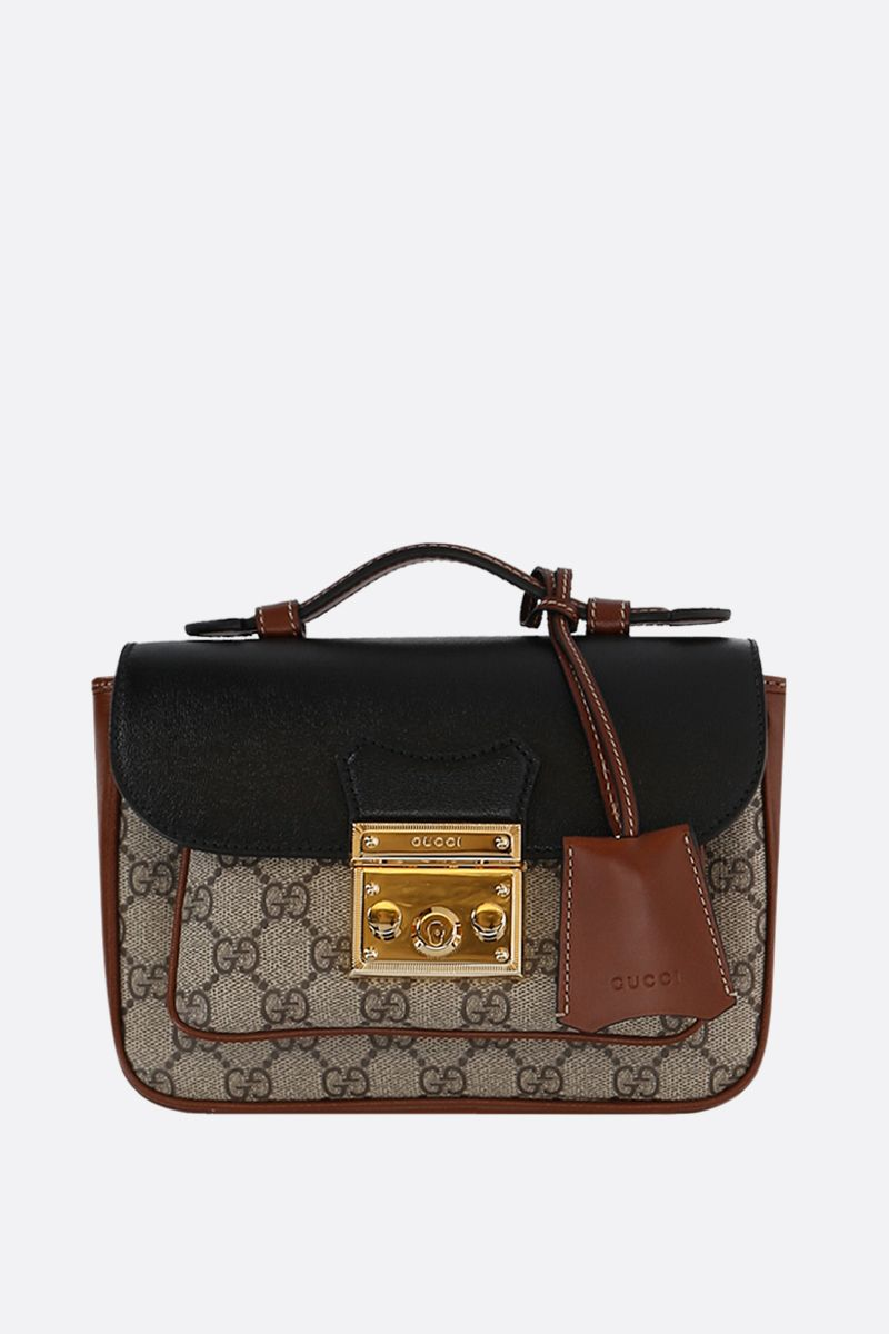 GUCCI: Padlock mini shoulder bag in GG Supreme canvas and smooth leather Color Black_1