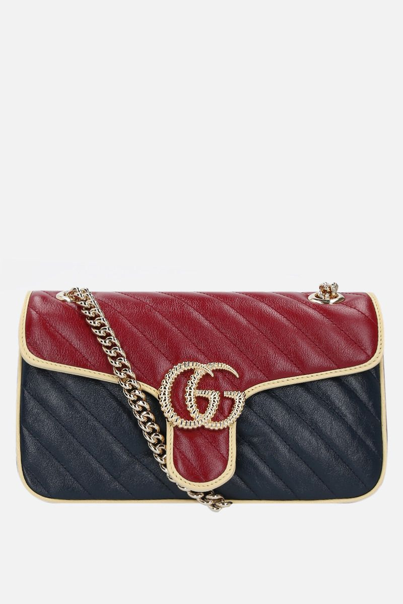 GUCCI: GG Marmont small quilted leather shoulder bag Color Blue_1