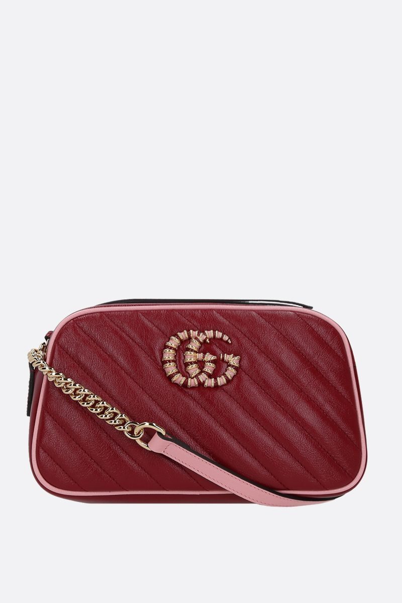 GUCCI: GG Marmont small quilted leather crossbody bag Color Red_1