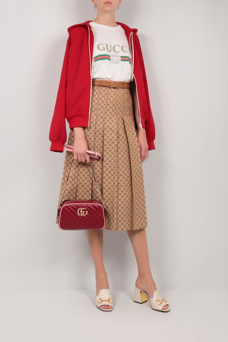 GUCCI: GG Marmont small quilted leather crossbody bag Color Red_2