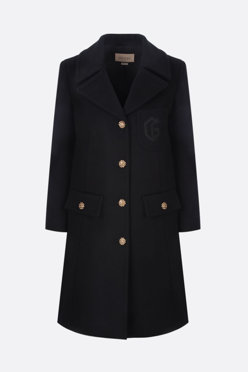 GUCCI: Double G embroidery single-breasted wool coat Color Black_1