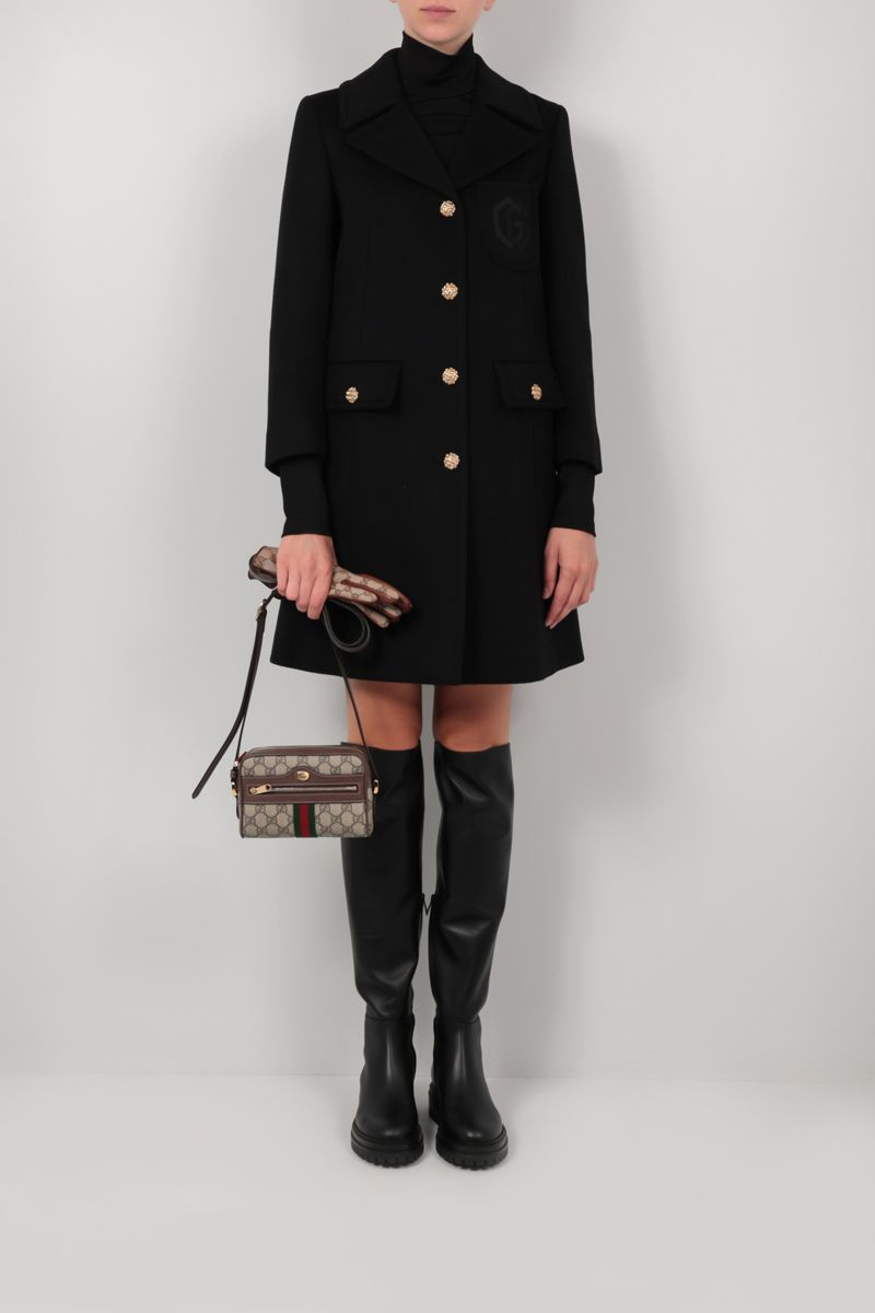GUCCI: Double G embroidery single-breasted wool coat Color Black_2
