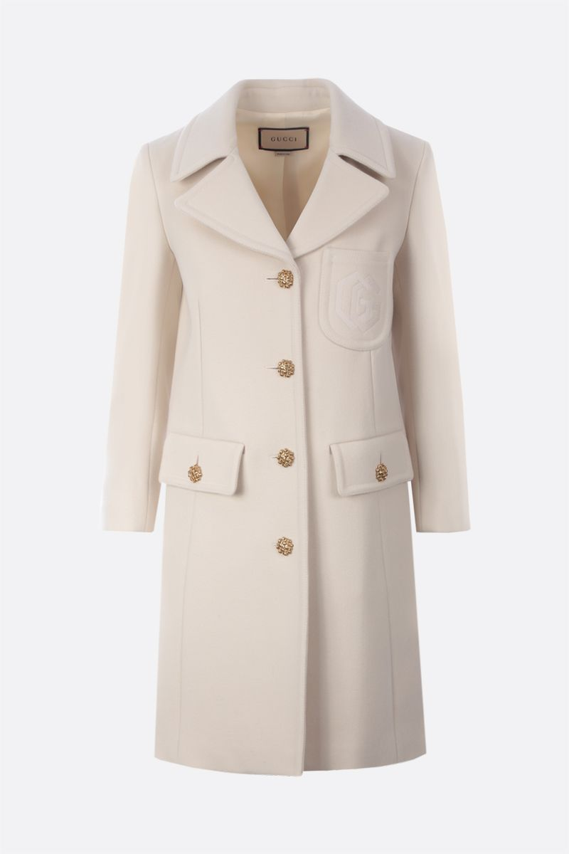 GUCCI: Double G embroidery single-breasted wool coat Color Pink_1