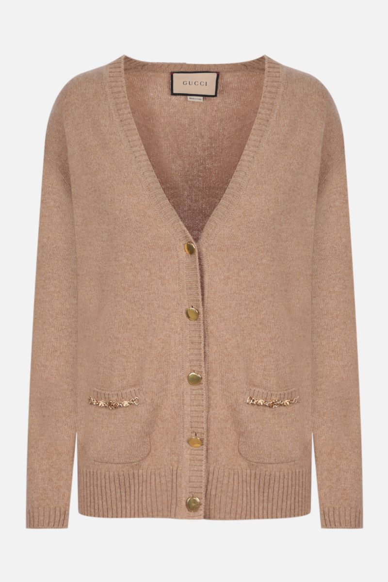 GUCCI: Double G-detailed cashmere cardigan Color Brown_1