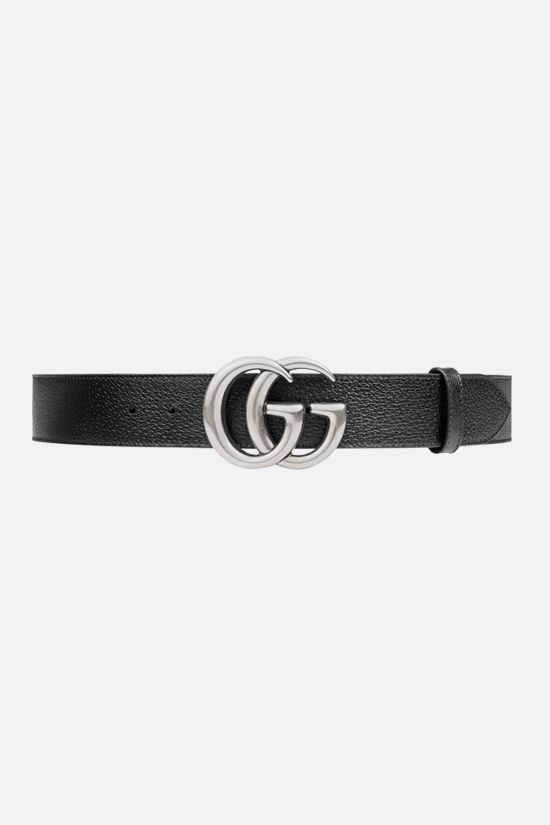 GUCCI: Double G buckle-detailed textured leather belt Color Black_1