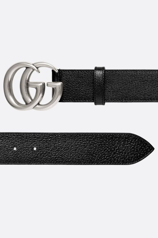 GUCCI: Double G buckle-detailed textured leather belt Color Black_2